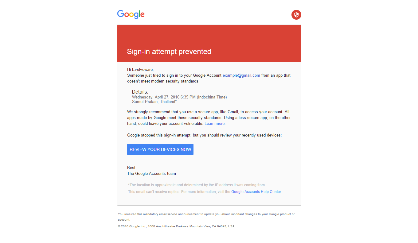 Gmail: Sign-in attempt prevented - Awesome Support