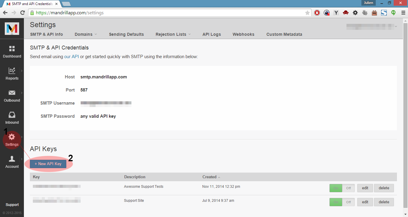 Create Mandrill API Key