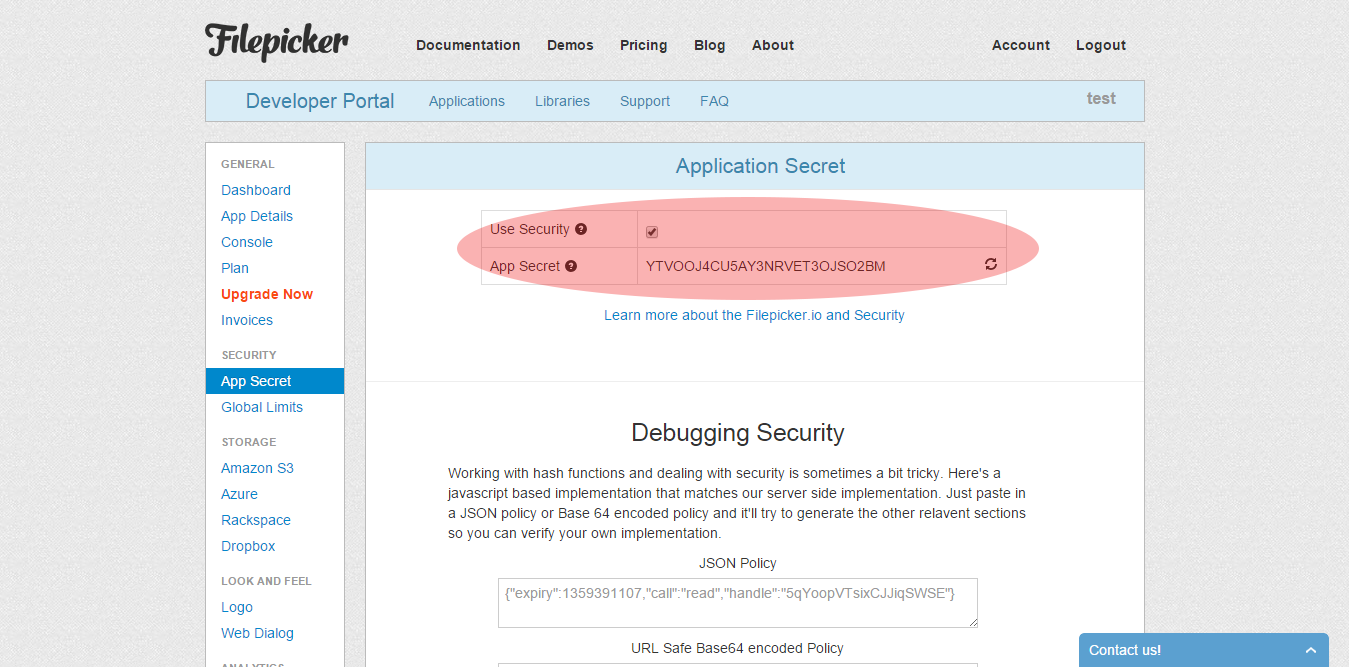 Filepicker Secret Key